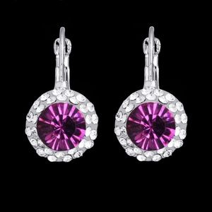 Jewelry - Amethyst CZ Round-Cut Drop Huggie Hoop Earrings